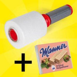 Spar-Set Ministretchfolie + Abroller + Manner Waffeln