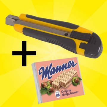 Cuttermesser-Set mit 12 Messern + Gratis Manner Waffeln